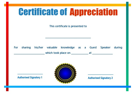 12 genuine samples of certificate of appreciation for guest sample certification of appreciation for guest speaker 7 yadclub Image collections
