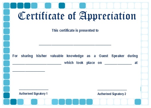 12 genuine samples of certificate of appreciation for guest sample certification of appreciation for guest speaker 8 yadclub Choice Image