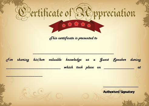 12 genuine samples of certificate of appreciation for guest sample certificate of appreciation for guest speaker in graduation yadclub Images