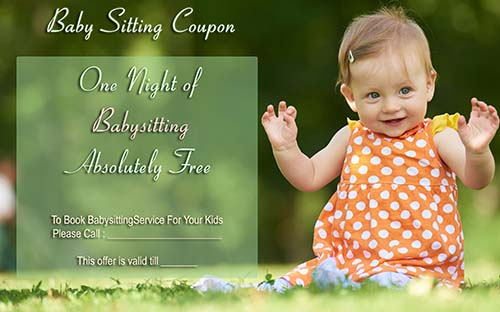 Free Baby Sitting Coupon Template 1