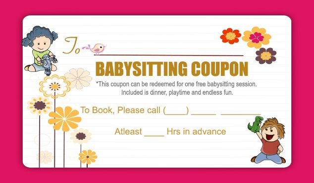 20 free babysitting coupon templates to skyrocket your child care business demplates. Black Bedroom Furniture Sets. Home Design Ideas