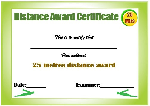 25m Swimming Certificate Template