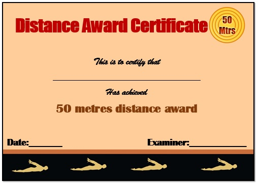 50m Swimming Certificate Template