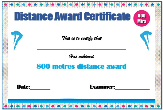 800m Swimming Certificate