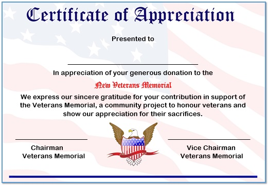 Certificate Of Appreciation Donation 1