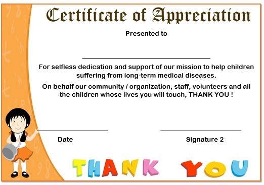 Donation Appreciation Certificate Template