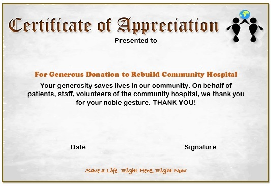 10 elegant certificate of appreciation for donation templates free certificate of appreciation for donation to rebuild community hospital certificateofappreciationdonation8 altavistaventures Images