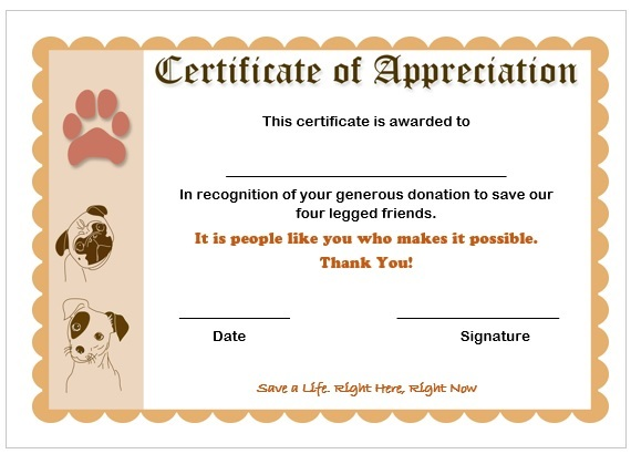 10 elegant certificate of appreciation for donation templates free certificate of appreciation for donation to save pets certificateofappreciationdonation9 altavistaventures Images