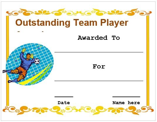 Football Outstanding Team Player Certificate
