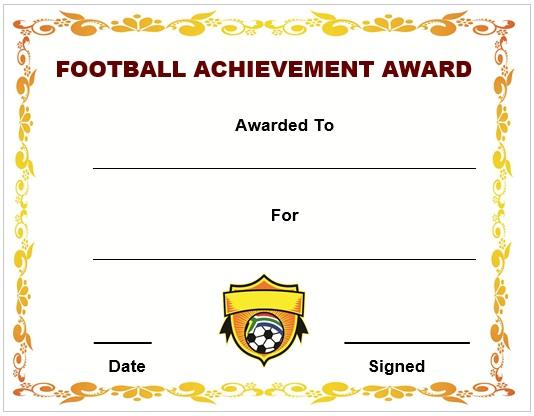 Football Achievement Award Certificate