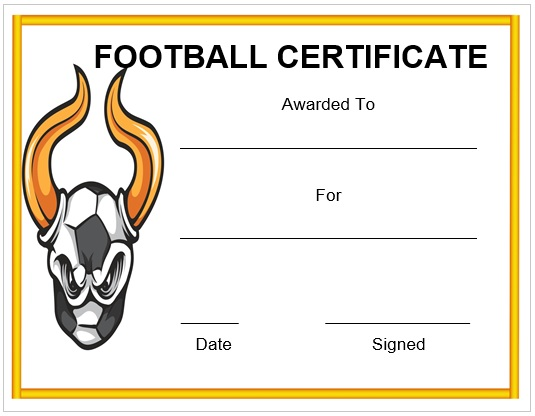 30 free printable football certificate templates awesome