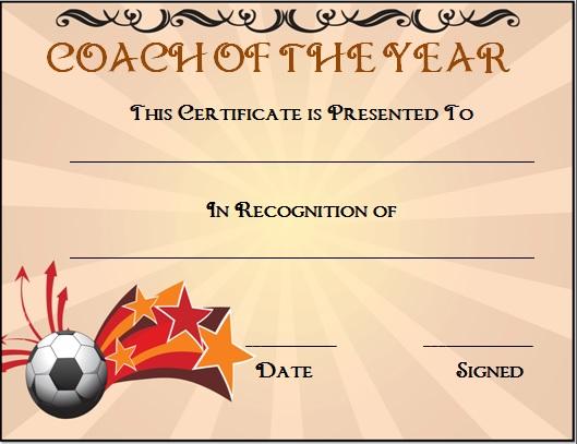Football Coach Certificate Template