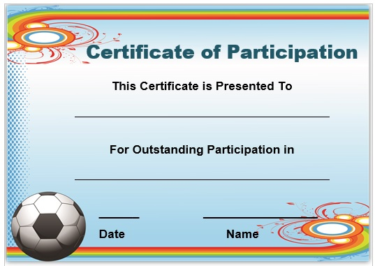 Football Certificate of Participation