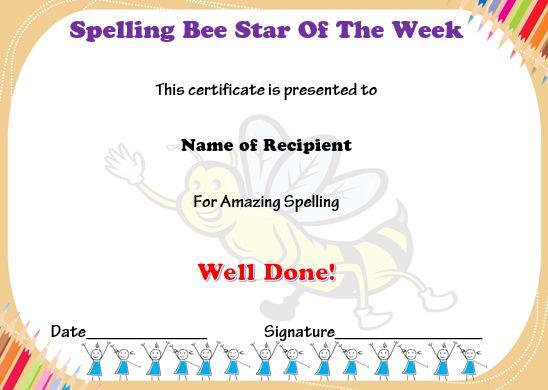 Spelling bee star of the week