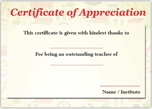 Sample Certificate of Recognition for Outstanding Teacher