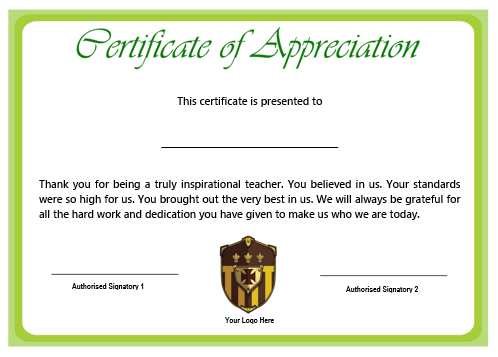 11+ Printable Certificates of Appreciation for Teachers