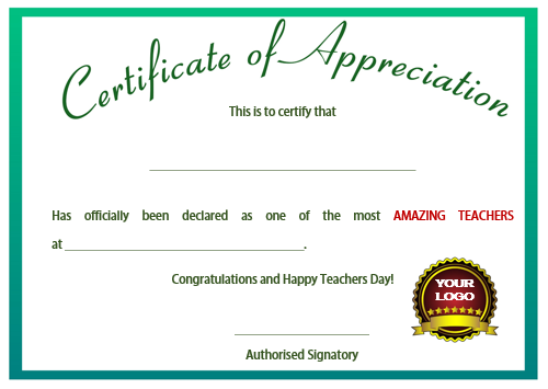 11 printable certificates of appreciation for teachers for Teacher appreciation certificate template