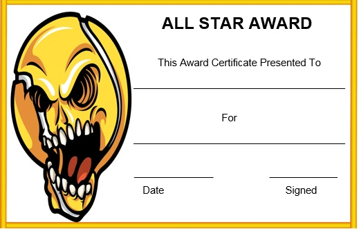 baseball all star certificate template