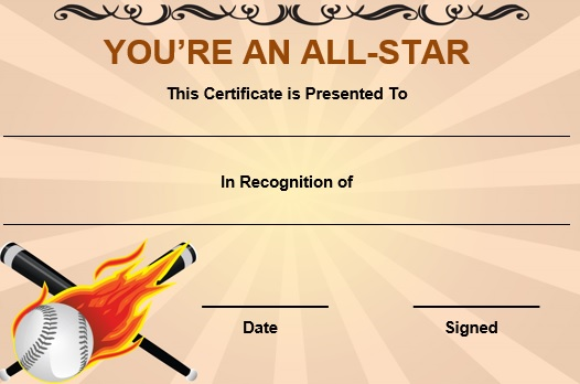 baseball all star certificate template 1 - Baseball Certificates Templates Free