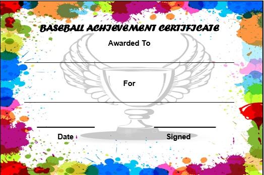 baseball award certificate template free