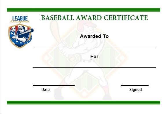 Baseball award certificate template word