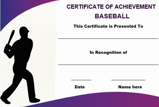 Baseball certificate of achievement template