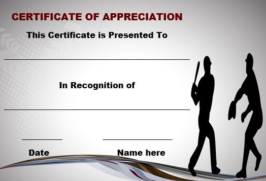 Baseball certificate of appreciation template