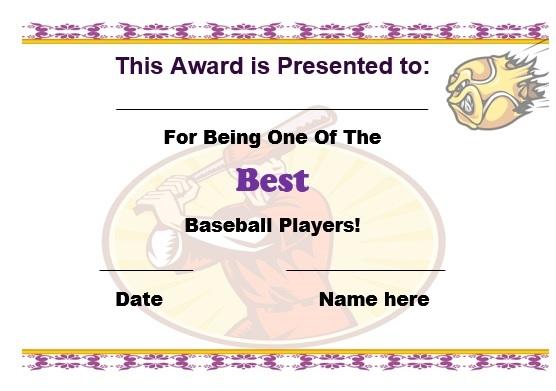 baseball certificate template free