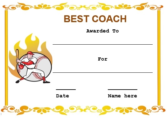 baseball coach certificate template