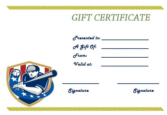baseball gift certificate template
