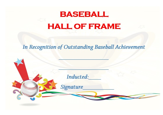 baseball hall of fame certificate template