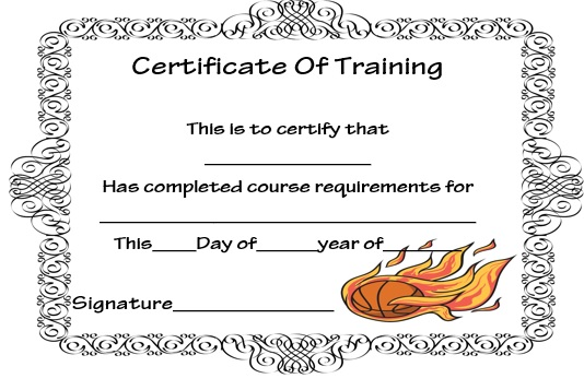 basketball training certificate