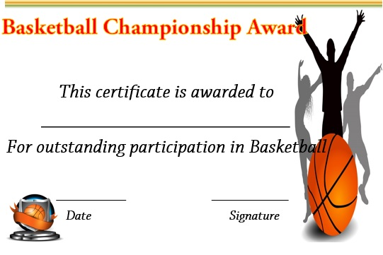 basketball championship certificate