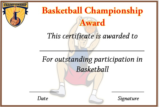 basketball championship certificate template