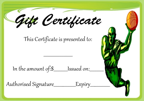basketball gift certificate template