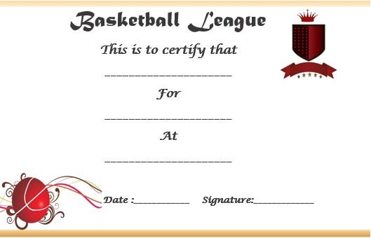 basketball league certificate