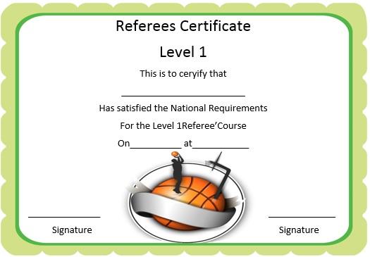 basketball referee certificate