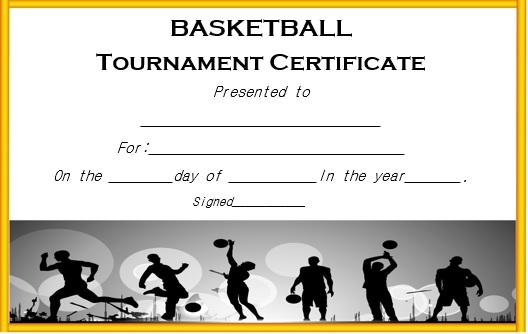 basketball tournament certificate template