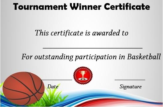 basketball tournament winner certificate