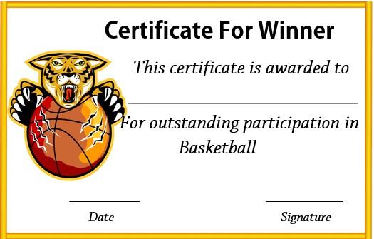 basketball winner certificate