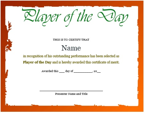 10 Professional Player Of The Day Certificate Templates For All