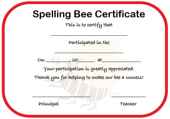 21 Free Printable Spelling Bee Certificates Participation Winner