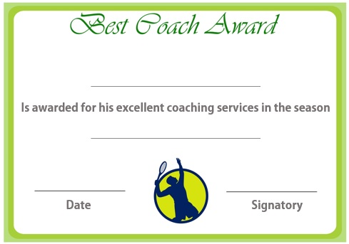 Certificate for tennis coach