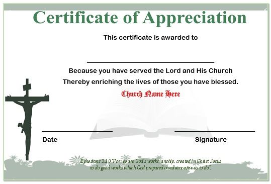 certificate of appreciation for church volunteers