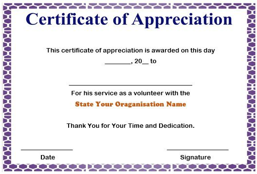 certificate of appreciation for volunteer service