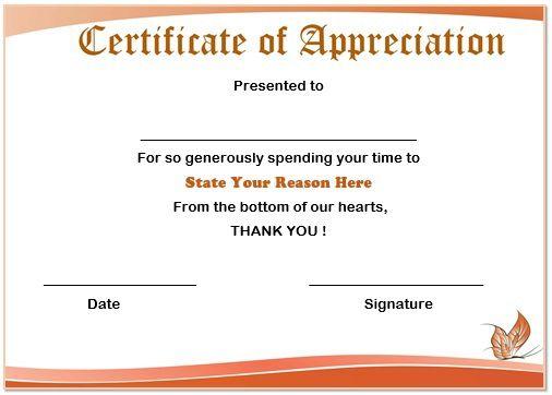 certificate of appreciation volunteer work