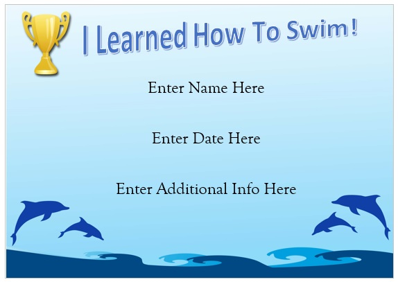 Dolphin Swimming Certificate