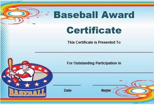 20 attention grabbing free printable baseball certificates demplates. Black Bedroom Furniture Sets. Home Design Ideas