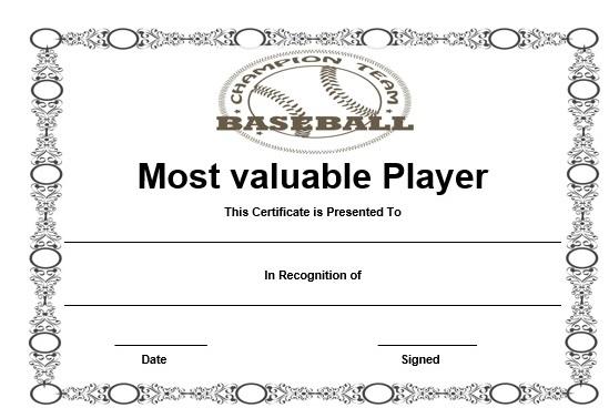 free baseball mvp certificate template