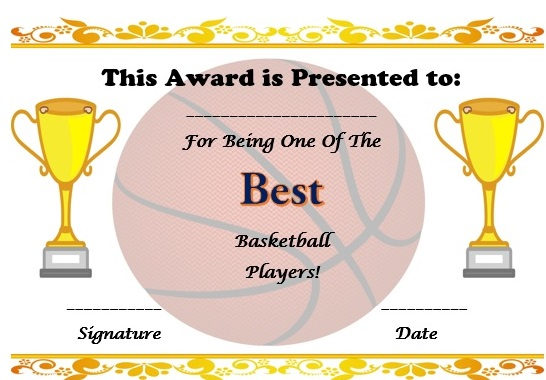 Basketball Certificate Template Free Kubreforic